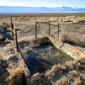 The source spring is warmer and contained in a concrete tub.- Kyle Hot Springs