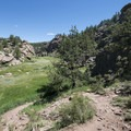 First view of West Fourmile Creek.- Paradise Cove Swimming Hole in Guffey Gorge