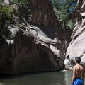 Cliff jumping at Paradise Cove, West Fourmile Creek (also known as Guffey Gorge).- Paradise Cove Swimming Hole