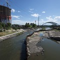 View of the South Platte River just downstream from Confluence Park.- Confluence Park