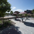 Picnic area in the northeast corner of Denver's Confluence Park.- Confluence Park