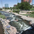 Floaters making their way down the South Platte River at Confluence Park.- Confluence Park