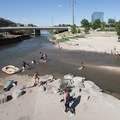 View downstream at Confluence Park, Denver.- Confluence Park