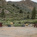 Picnic table near the entrance.- Fork Campground