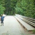 People walk along the High Steel Bridge on the Olympic Peninsula.- High Steel Bridge