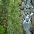 The view of the South Fork of the Skokomish River over the High Steel Bridge.- High Steel Bridge
