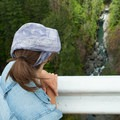 Looking down at the South Fork of the Skokomish River over the edge of the High Steel Bridge.- High Steel Bridge