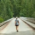 Light traffic makes the bridge an easy walk.- High Steel Bridge