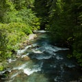 The Dungeness River as seen from the trailhead.- Royal Basin Falls