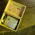 A box with notes and a makeshift trail register at the Stump House.- Guillemot Cove Nature Preserve