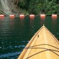 Lake Kokanee ends at buoys.- Lake Kokanee to Kokanee Falls