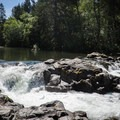 The Row River taks a short drop before the main falls.- Wildwood Falls Swimming Hole