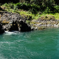 A panorama of the falls and pool.- Wildwood Falls Swimming Hole