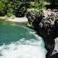 The cliffs that face the pool below Wildwood Falls.- Wildwood Falls Swimming Hole