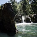 Wildwood Falls and the cliff band above the pool.- Wildwood Falls Swimming Hole