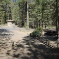 One of the vault toilets.- West South Twin Campground