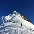 The Wy'east ridge toward Mount Hood's summit after topping out Flying Buttress.- Mount Hood South Route: Flying Buttress and Wy'east Ridge Variation