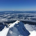 Southern view down the Wy'east ridge.- Mount Hood South Route: Flying Buttress and Wy'east Ridge Variation