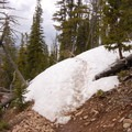 Snowdrift on the north face of Bunsen Peak.- Bunsen Peak