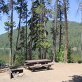A day use site (despite the fire pit) located near the lake.- Little Cultus Lake Campground