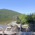 The boat ramp, with Cultus Mountain (6,751 ft) in the near distance.- Little Cultus Lake Campground