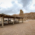 Civilian Conservation Corps-built covered picnic area near the caves area, also the trailhead for the Juniper Draw Loop and Miller Point trails.- Cathedral Gorge State Park
