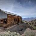 Miner's cabin overlooking Death Valley and the Panamint Mountains.- Ashford Mine Camp