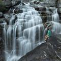 Giving the legs a break at Canyon Creek Falls.- Boulder Creek Lakes