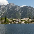 The view from the largest of the lakes toward the main canyon.- Boulder Creek Lakes