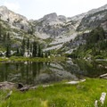 El Lake is tucked against a bowl of granite ridges.- Canyon Creek Lakes