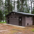 Shower facilities at Round Lake State Park Campground.- Round Lake State Park Campground