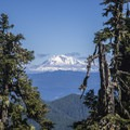 Mount Adams is prominent from the ridge on the hike in.- Soda Peaks Lake