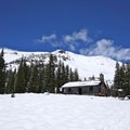 Sierra Club Hut at Horse Camp.- Mount Shasta: West Face Route