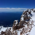 Mount Shasta summit (14,179 ft) with Lassen to the southeast.- Mount Shasta: West Face Route