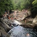 Enjoying the pools at Warren Falls.- Warren Falls