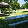 Picnic shelters at Wawawai County Park Campground.- Wawawai County Park Campground