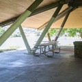 Inside the large day use shelter at Wawawai County Park.- Wawawai County Park Campground