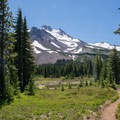 Looking south along the Pacific Crest Trail toward Mount Jefferson.- Jefferson Park via Whitewater Creek Trail