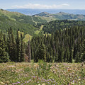 The view from the trail down toward Park City and Midway.- Bloods Lake