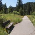 The trail leading toward the viewing decks.- Upper Mesa Falls