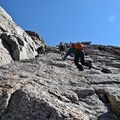 The Homestrech is a steep, vertical climb up to the summit. Follow the bulls eyes.- Longs Peak: Keyhole Route