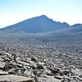 The gigantic boulder field as hikers approach the Keyhole from the southwest.- Longs Peak: Keyhole Route