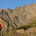 Ascending to Longs Peak.- Longs Peak: Keyhole Route