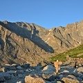 First glimpse of the massive summit. Mount Meeker is to the left, Longs Peak is to the right.- Longs Peak: Keyhole Route