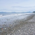 View north up the beach (with a fighter jet overhead).- Joseph Whidbey State Park Beach