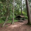 A picnic shelter in the forest along the beach.- North Beach, Deception Pass State Park