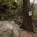 Unstable rocks along the path to Whiskeytown Falls.- Whiskeytown Falls