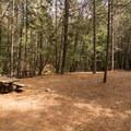 Picnic tables and a fire pit at Whiskeytown Falls.- Whiskeytown Falls