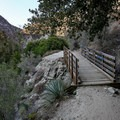 A small bridge along the trail is a sign that you're about halfway to the Bridge to Nowhere.- Bridge to Nowhere / East Fork San Gabriel River Trail