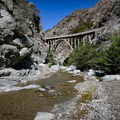A view of the Bridge to Nowhere.- Bridge to Nowhere / East Fork San Gabriel River Trail